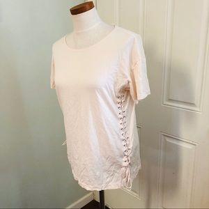 J crew boho lace up sides T-shirt cream top